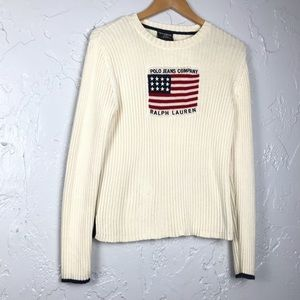 Polo Vintage American Flag Ribbed Sweater